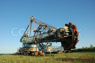 Abandoned daylight mine excavator for brown coal