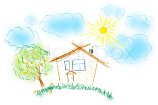 Child's drawing of their house