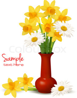 Spring colorful flowers in a vase with Easter eggs  Easter vector background