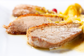Duck Breast Baked with Apples and cranberries | Stock Photo ...