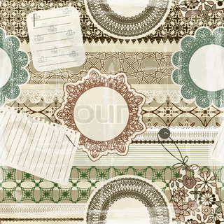 vectorseamless pattern with scrapbook elements