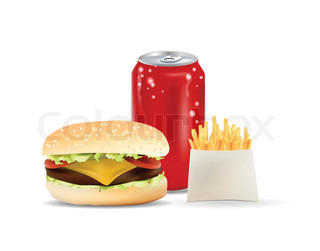 Burger , Soda Canand Fries