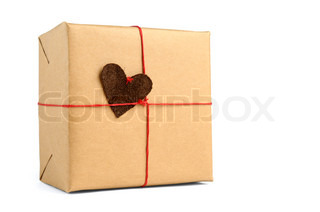 Wrapped gift box isolated on white background