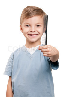 Boy with comb