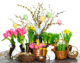 spring flowers with easter bunny and eggs decoration