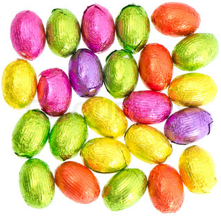 chocolate easter eggs in colorful foil