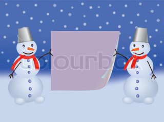 two snowmen with bent paper page vector illustration