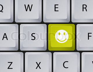 Vector keyboard with smiley button Eps10