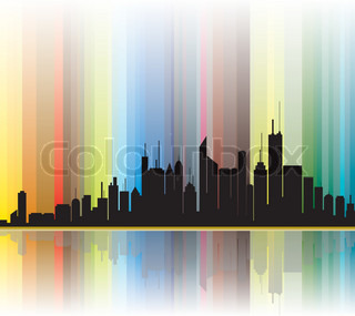 City silhouette showing bright colorful lines in the background
