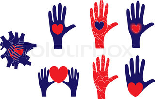 Hand and heart symbols showing various concepts