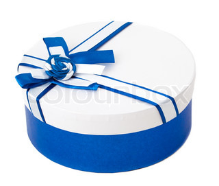 Round shape gift box with blue ribbon and bow isolated