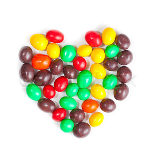 group of colour sweet sugar candies combined by heart
