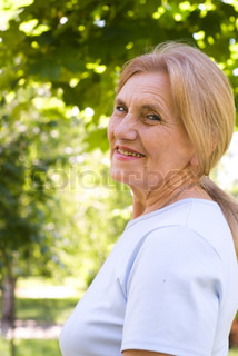 old woman in park