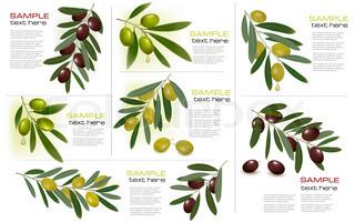Sæt af baggrunde med grønne og sorte oliven.