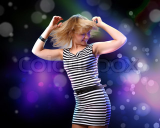 Image of young woman and colorful disco background