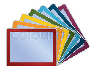 group of rainbow colors tablets vector illustration