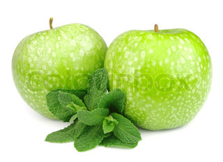Green apple with mint leaf