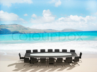 3D rendering of a Meeting table and chairs in the water of a Caribbean beach
