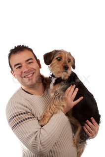 Guy Holding a Cute Dog