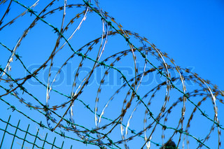 barbed wire against blue sky as war background