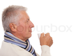 healthy old man on white