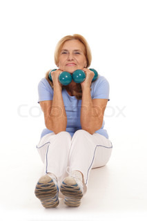 elderly woman with dumb bells