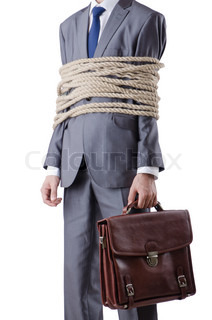Businessman tied with rope