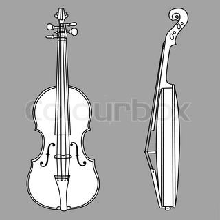 violin silhouette on gray background, vector illustration