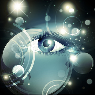 Abstract mystic psychedelic Galaxy night background with stars and woman opened eye