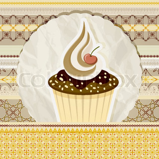 vector vintage pattern with cupcake and retro background, seamless borders can be used separately