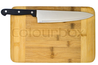 Kitchen knife lying on a cutting board isolated on white for Kitchen knife set of 7pcs with cutting board