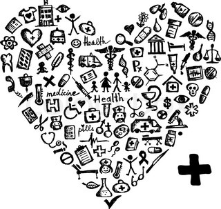 Heart shape with medical icons for your design