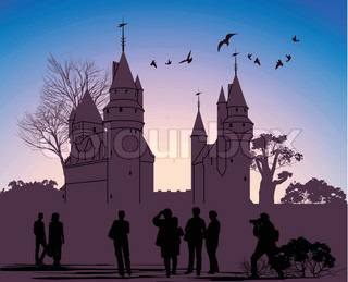 silhouettes of people against the backdrop of an ancient castle