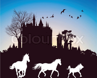 silhouettes of three horses running in the background of the ancient castle at sunrise