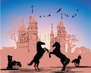 Two horses stand on their hind legs against the backdrop of an old castle