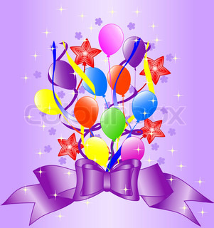 birthday background with bow, balloons, ribbons vector illustration