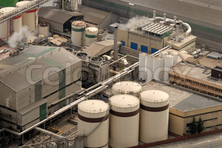 Aerial view of industrial buildings