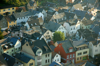 Aerial view of a German town