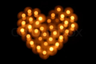 shining candles heart shaped