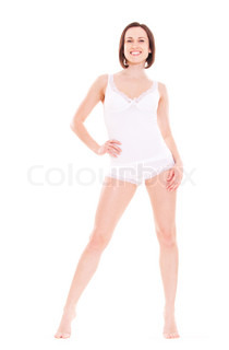 portrait of smiley young woman in white underwear