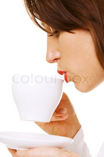 closeup of woman with coffee