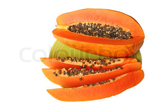 Ripe orange papaya on a plate