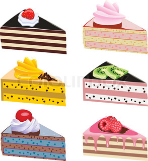 vector cake slices with fruits and chocolate