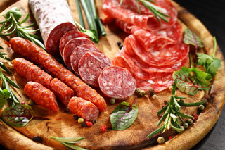 Italian ham and salami with herbs