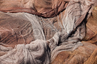 Fishing nets still life background pattern fishermen tackle