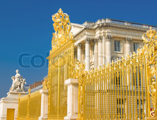 Golden gate and Palace facade in Versailles