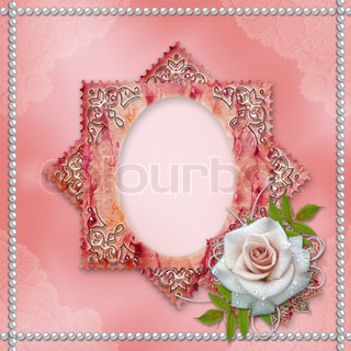 vintage frame with rose