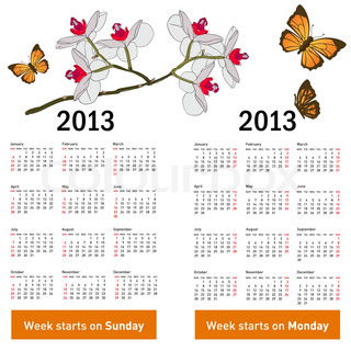 Stylish calendar with flowers and butterflies for 2013