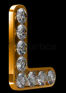 Golden L letter incrusted with diamonds