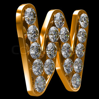 Golden W letter incrusted with diamonds